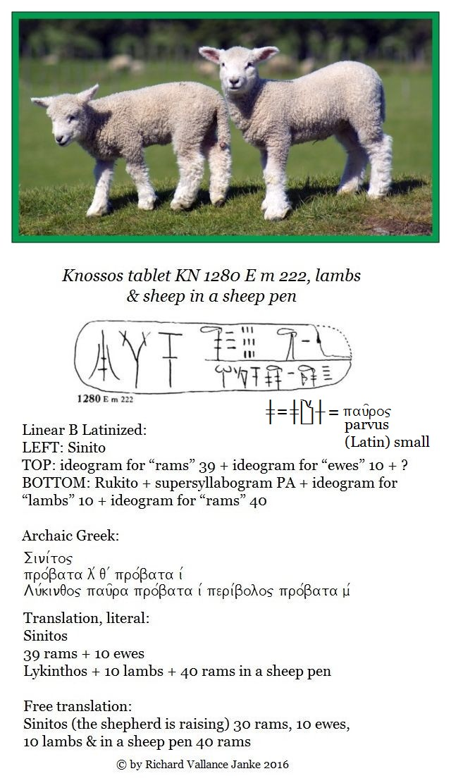 Knossos tablet KN 1280 E m 222 lambs and sheep in sheep pens