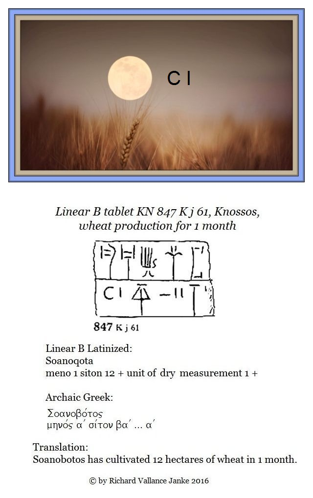 Knossos tablet KN 847 K j 61 monthly cultivation of wheat