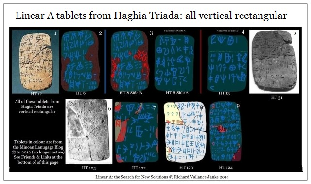 linear A tablets Hagia Triada rectangular vertical longer than horizontal wide