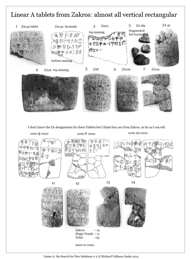Linear A tablets ZAkros rectangular with vertical longer than horizontal is wide