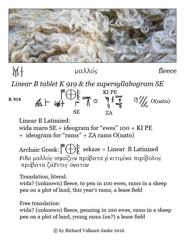 Linear B tablet K 919 with the supersyllabograms KI PE ZA SE