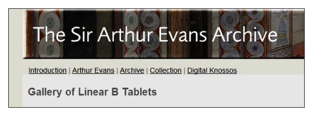 Sir Arthur Evans Archives Gallery of Linear B tablets