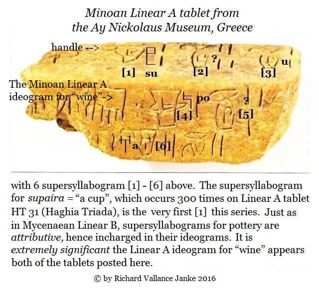 A.Y. Nickolaus Linear A tablet & ideogram for wine