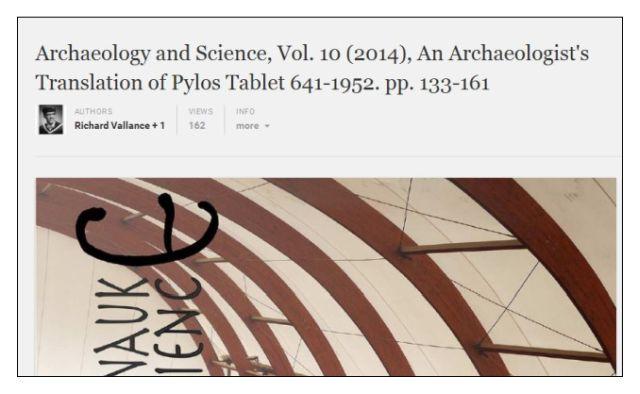 archaeologist's translation of Pylos TA 641-1952 Ventris