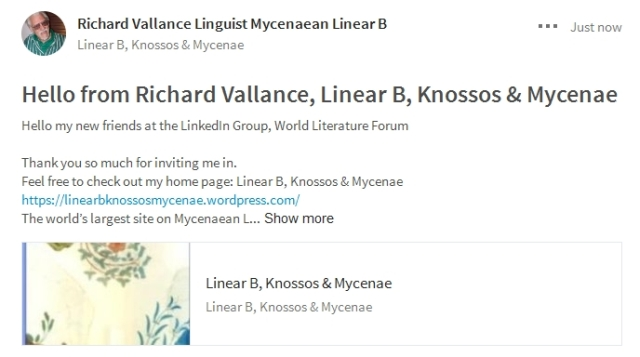 Hello from Richard Vallance Linear B, Knossos & Mycenae