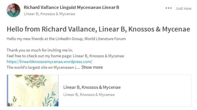 Hello from Richard Vallance Linear B, Knossos & Mycenae