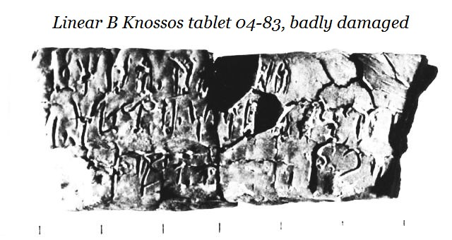 Knossos tablet 04-83 damaged