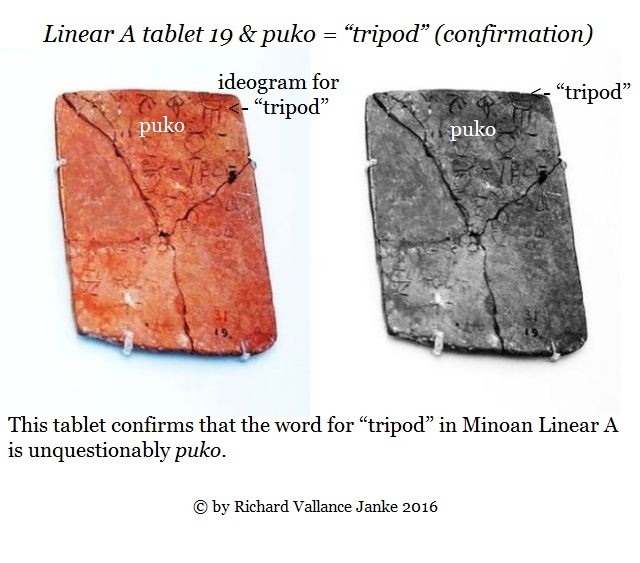 Linear A 19 joins puko = tripod