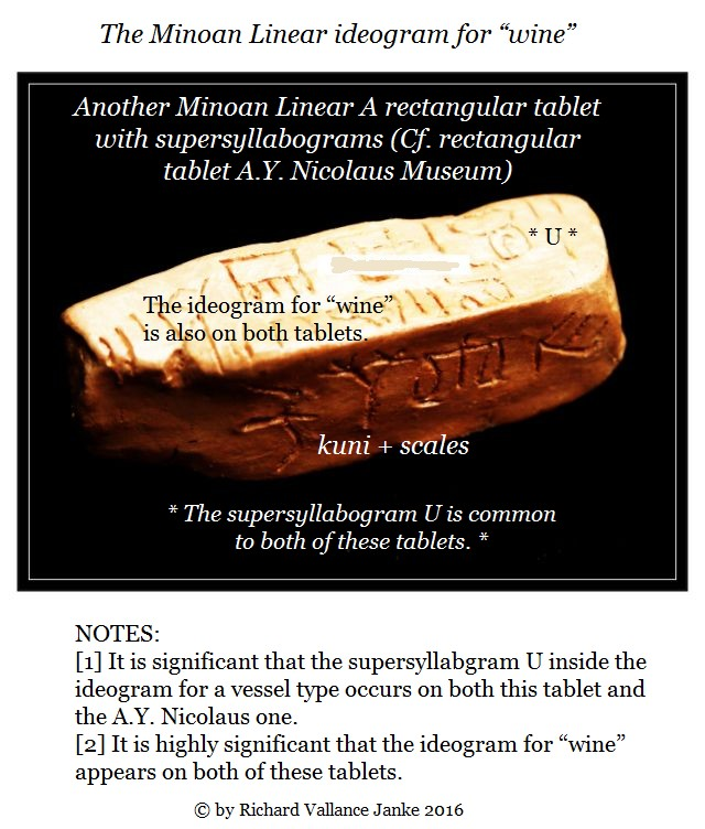 Linear A tablet with the ideogram for wine Cf. A.Y. Nickolaus