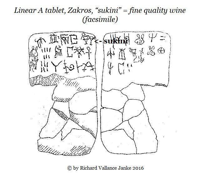 Linear A tablet Zakros sukini = fine quality wine facsimile