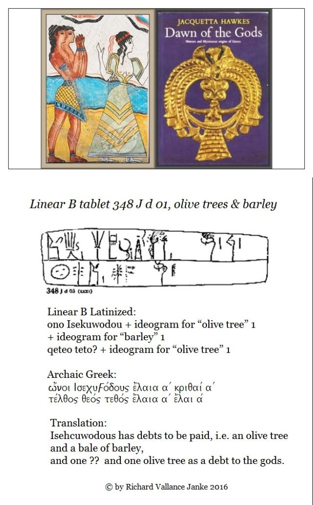 Linear B tablet Knossos debts to the gods of olive oil and barley