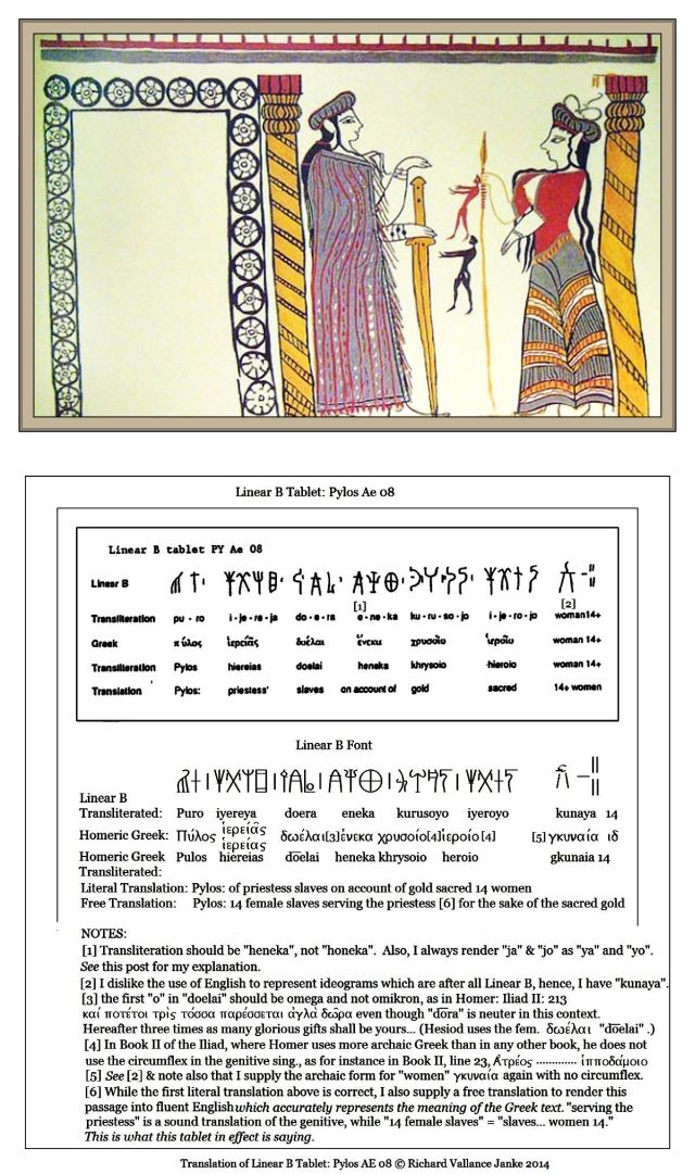 Linear B tablet Pylos Ae 08 offerings by slaves to the priestess at Pylos