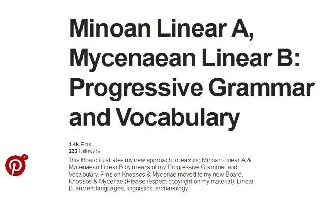 Minoan Linear A Mycenaen Linear B progressive grammar PINTEREST