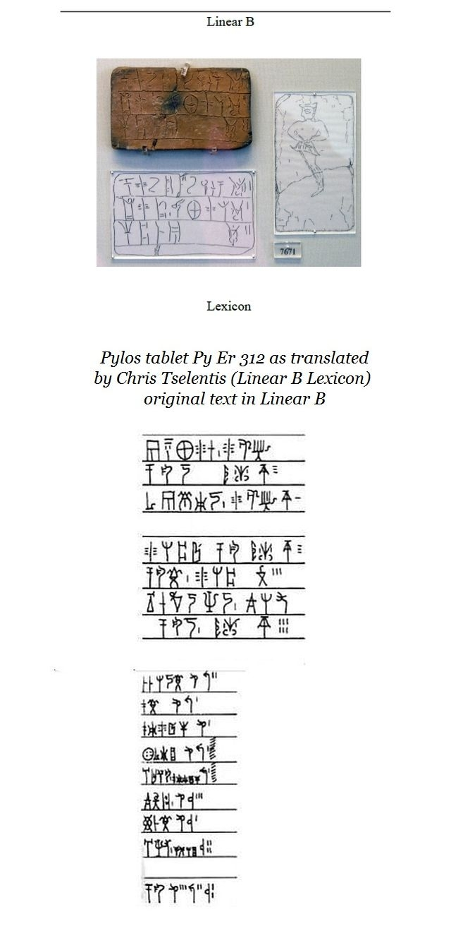 Pylos tablet PY TA Er 312 Linear B