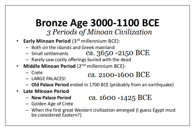the three Periods of Minoan Civilization