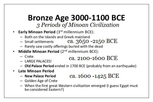 the three Periods of Minoan Civilization