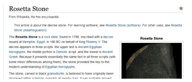 Wikipedia Rosetta Stone