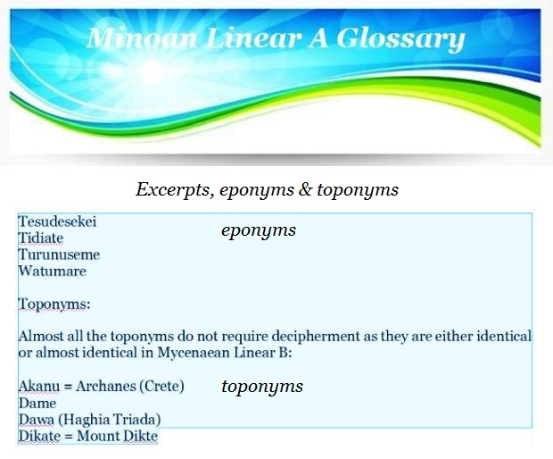 excerpt eponyms and toponyms in Minoan Linear A