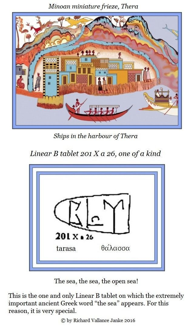 Linear B tablet 201 X a 26 tarasa thalassa the sea