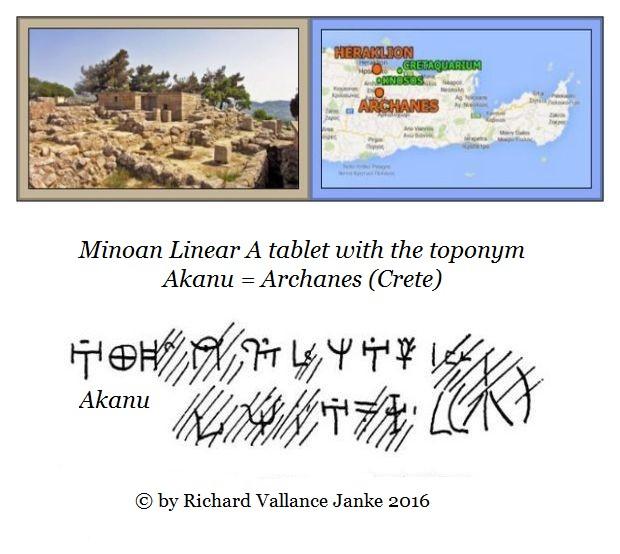 Minoan Linear A AKANU = archanes crete