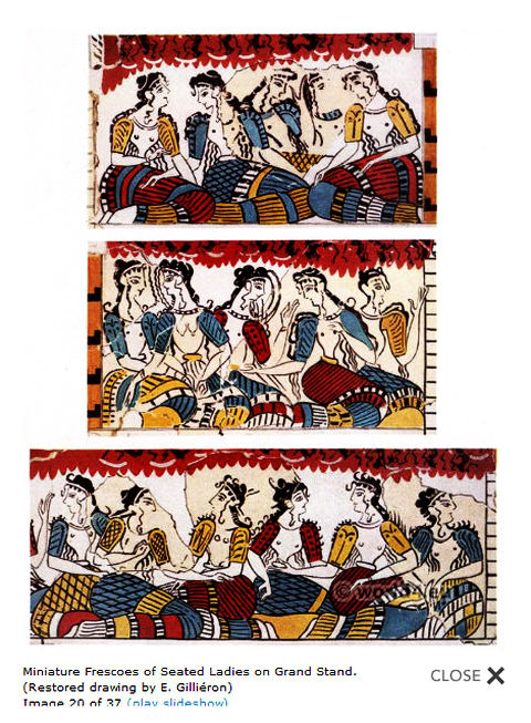 Minoan seated ladies in grandstand