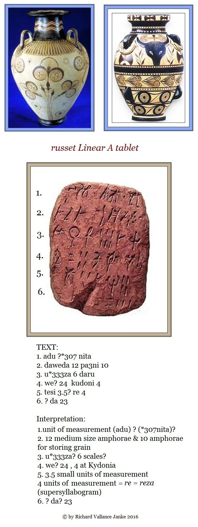 russet Minoan Linear A tablet