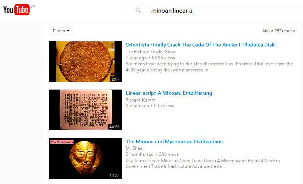 Utube Minoan Linear A