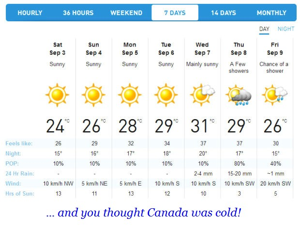 g 7 day forecast early sept 2016
