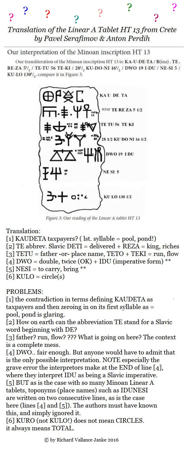 Minoan Linear A tablet HT 13 Slavic