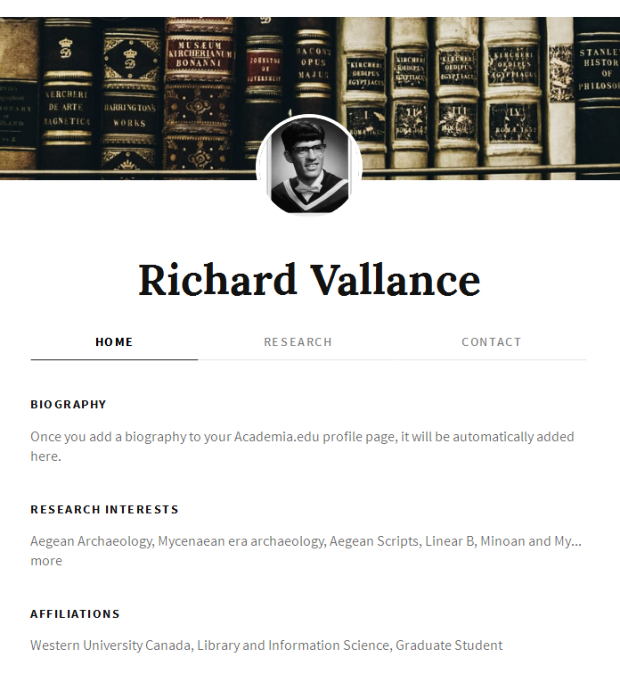 Richard Vallance academia.edu website
