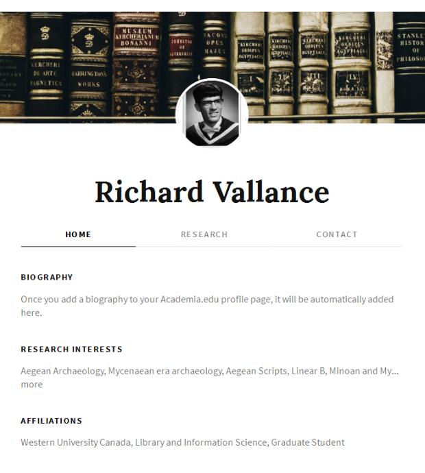 Richard Vallance academia.edu website