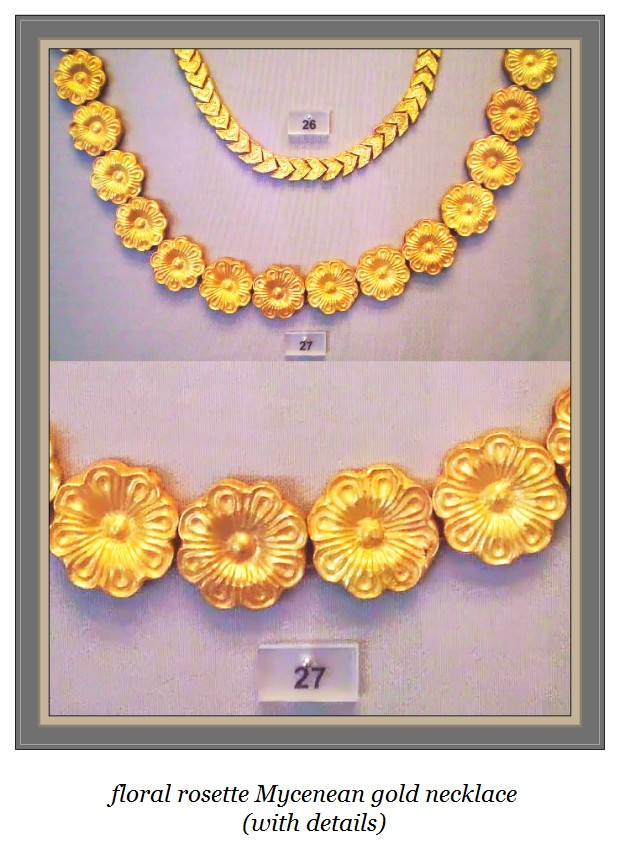 Flower rosette Mycenaean gold necklace