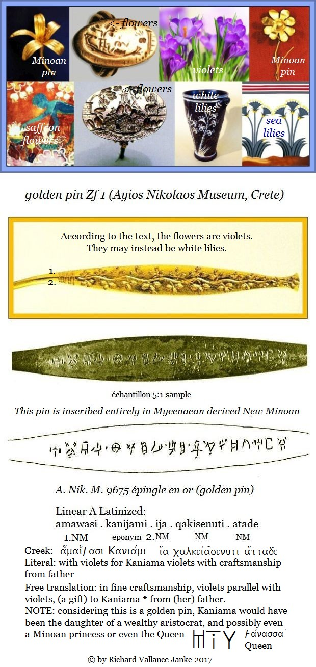 golden floral pin Linear A Zf 1 inscription Ayios Nikolaos Museum Crete in derived Mycenaean