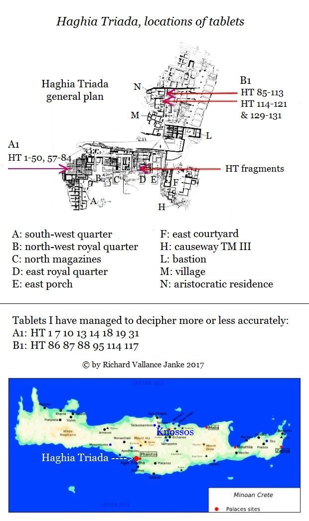 Haghia Triada location of tablets in Linear A with my decipherments