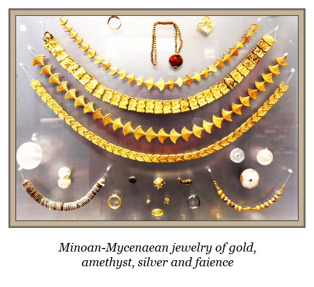 jewelry of gold, amethyst, faience, silv