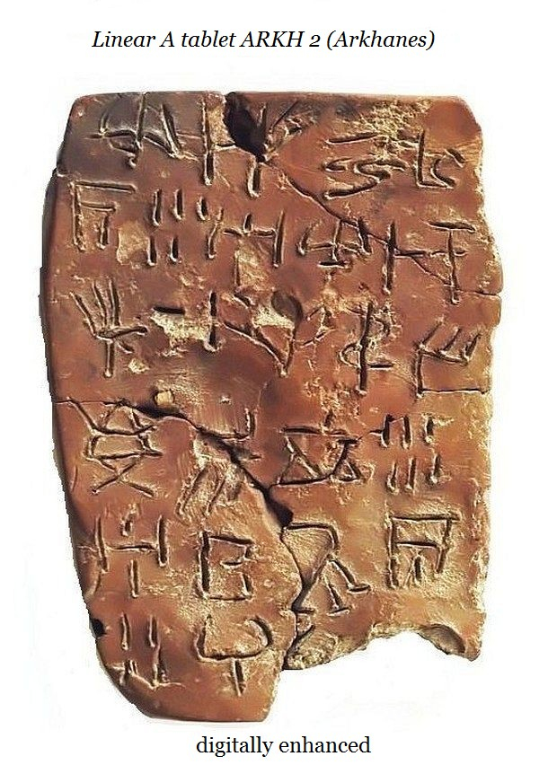 Linear A tablet ARKH 2 Arkhanes digitized