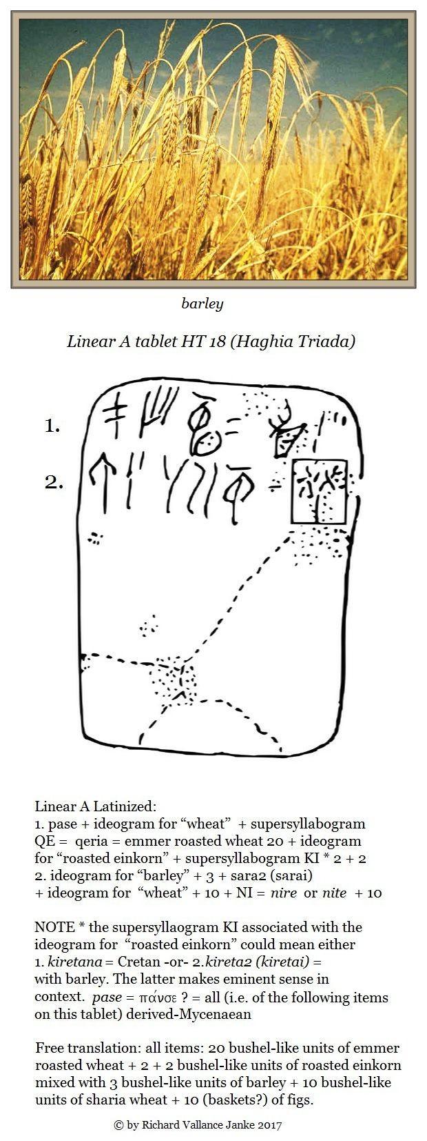 Linear A tablet HT 18 Haghia Triada