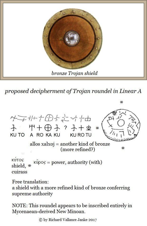 Trojan roundel in proposed Mycnaean-derived Linear A