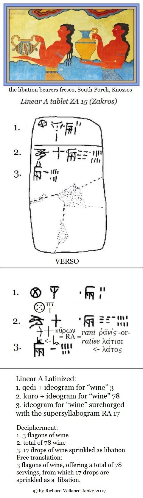 Linear A tablet ZA 15 b VERSO Zakros