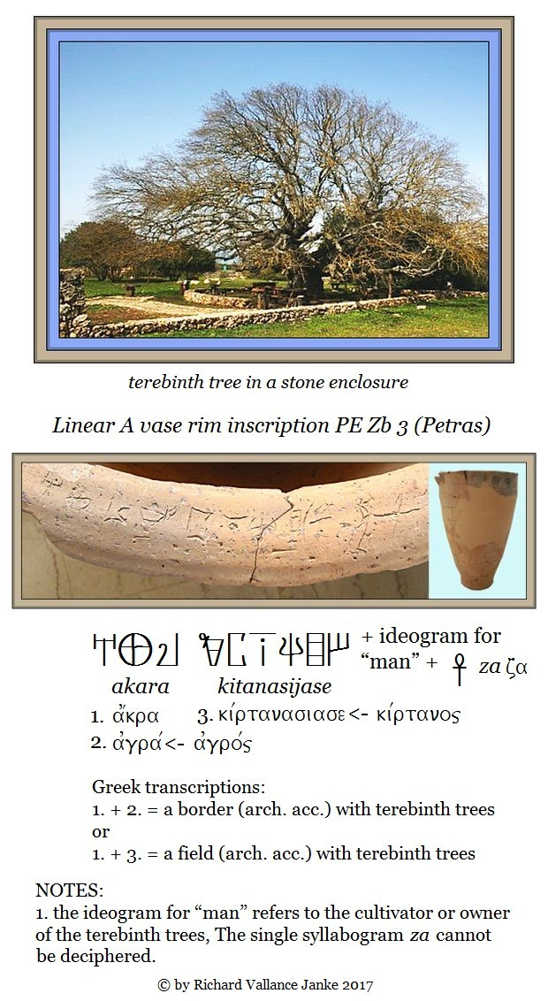 Linear A vase rim Petras PE Zb 3 on tereebinth trees