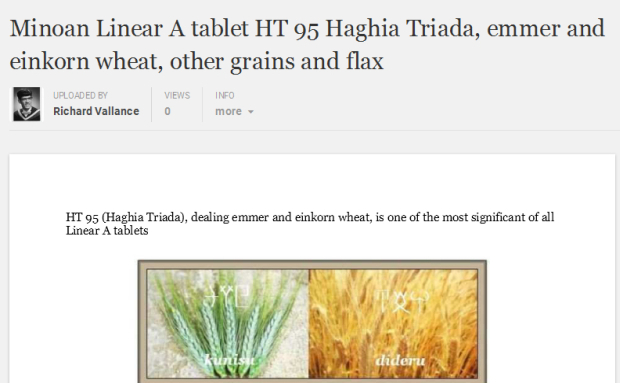Minoan Linear A tablet academia.edu