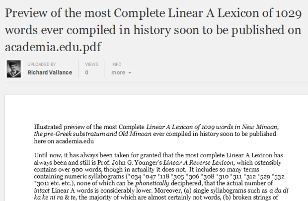 preview of comprehensive Linear A Lexicon