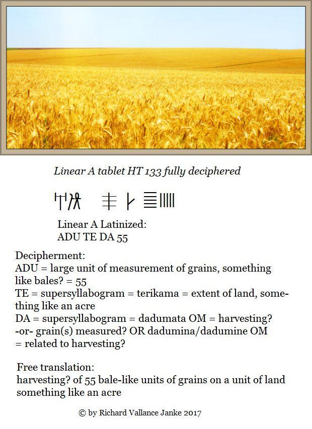 Linear A tablet HT 133 Haghia Triada