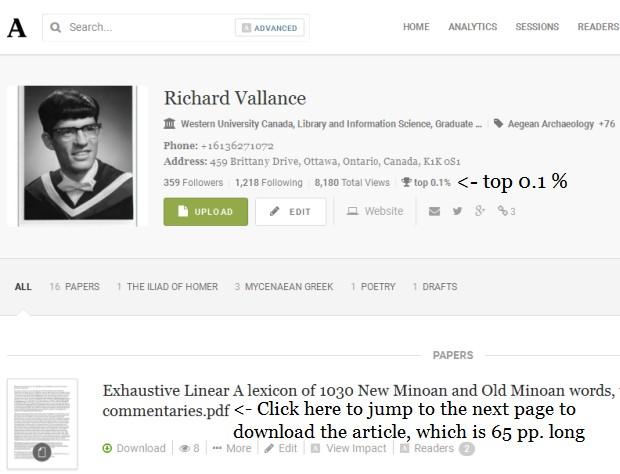 Richard Vallance profile academia.edu