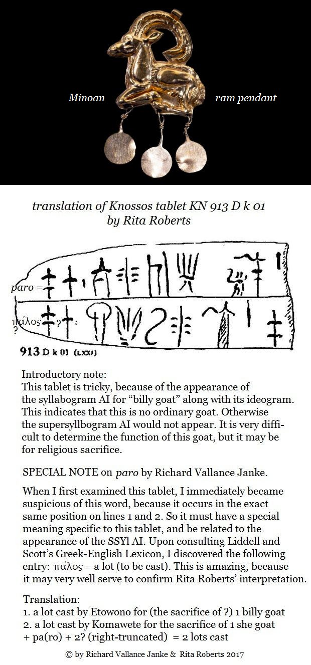 Knossos tablet KN 913 D k 01 translation by Rita Roberts