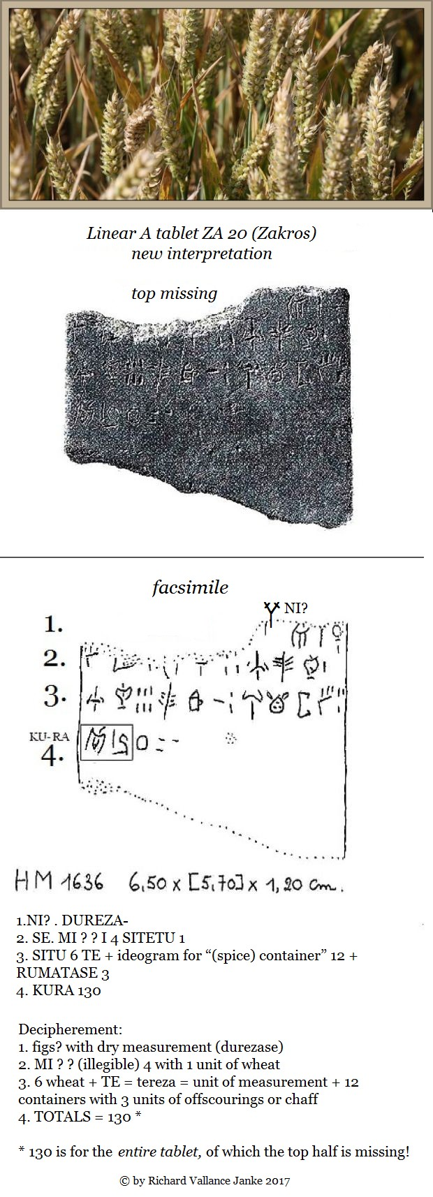 Linear A tablet ZA 20 HM 1636 Zakros