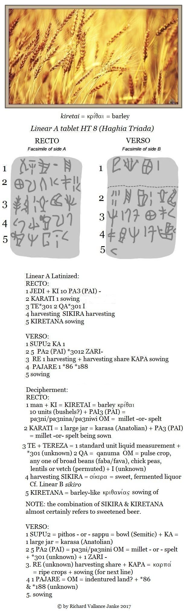 Linear A tablet HT 8