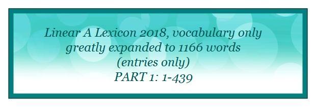 Linear A Lexicon 2018 entries 1-439