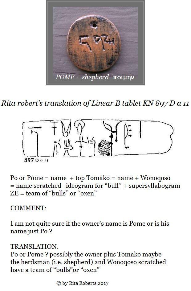Linear B tablet KN 897 D a 11