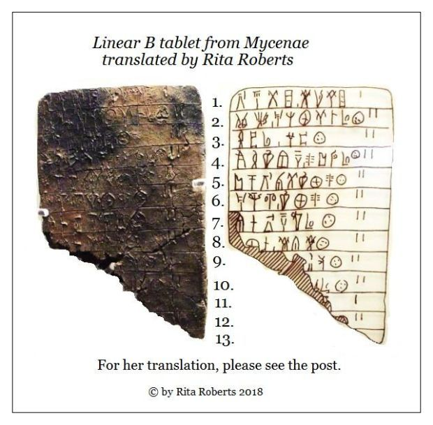Linear B tablet from Mycenae translated by Rita Roberts 2018